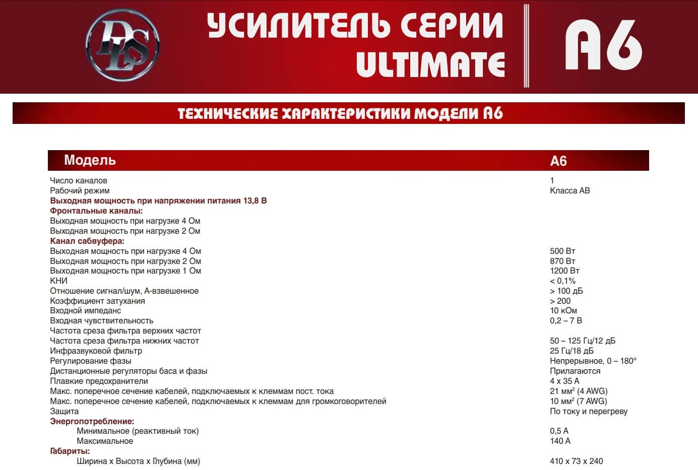 Specification DLS A6 Ultimate Avtousilok kz